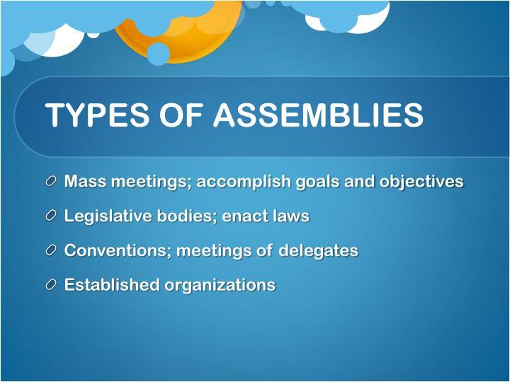 TYPES OF ASSEMBLIES