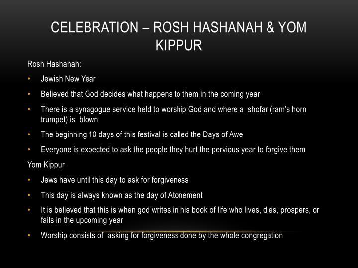 Celebration – Rosh Hashanah & Yom Kippur