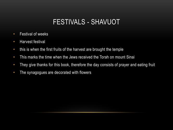 Festivals - Shavuot