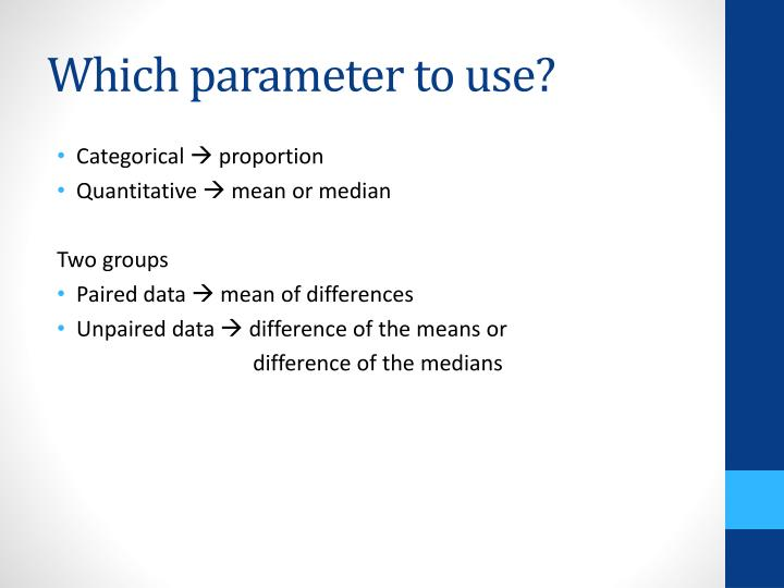 Which parameter to use?