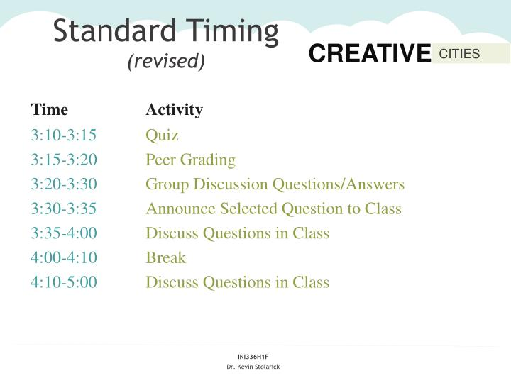 Standard timing revised