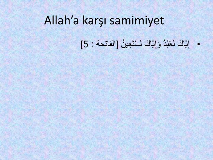 Allah'a karşı samimiyet
