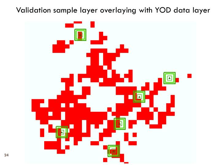Validation sample layer overlaying with YOD data layer