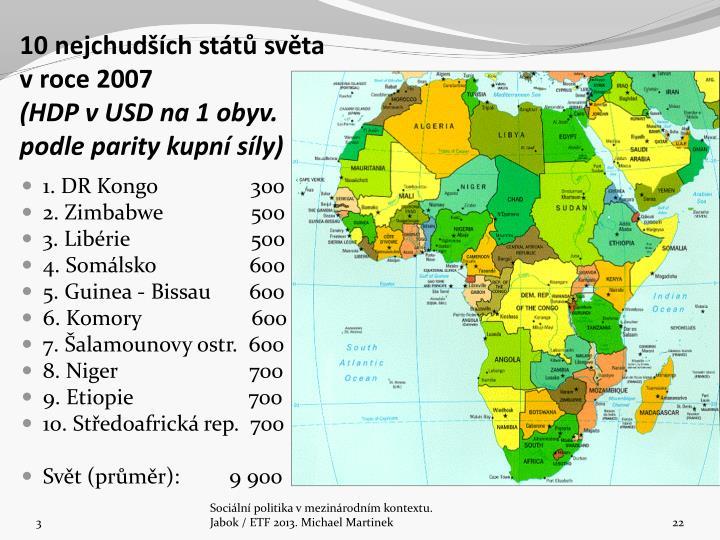 10 nejchudšíchstátů světa vroce 2007
