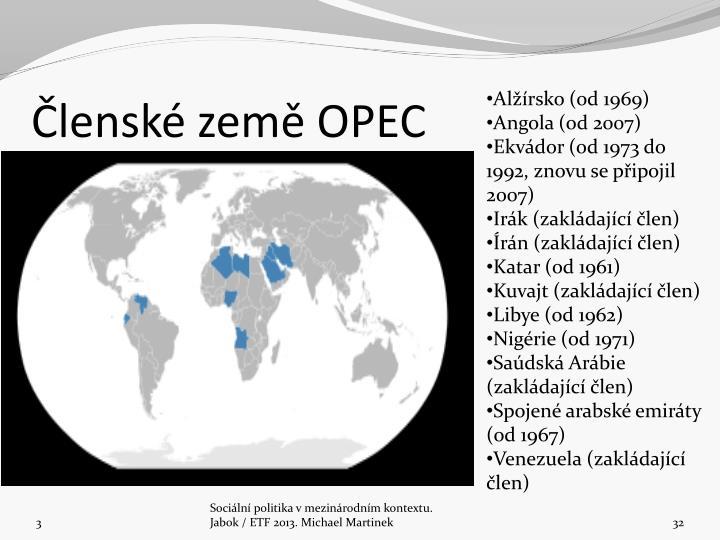 Členské země OPEC