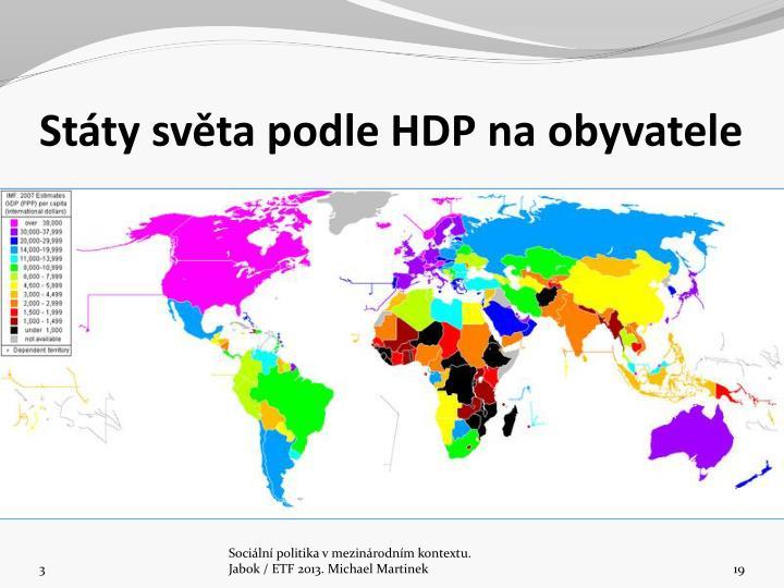 Stty svta podle HDP na obyvatele