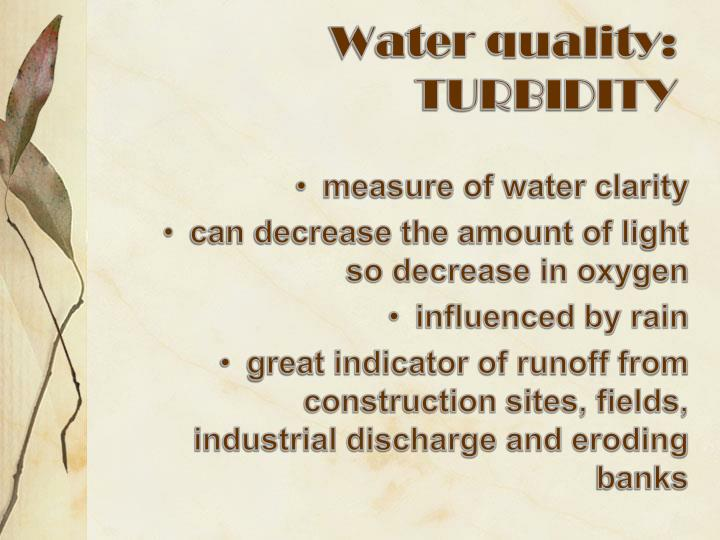 Water quality: TURBIDITY