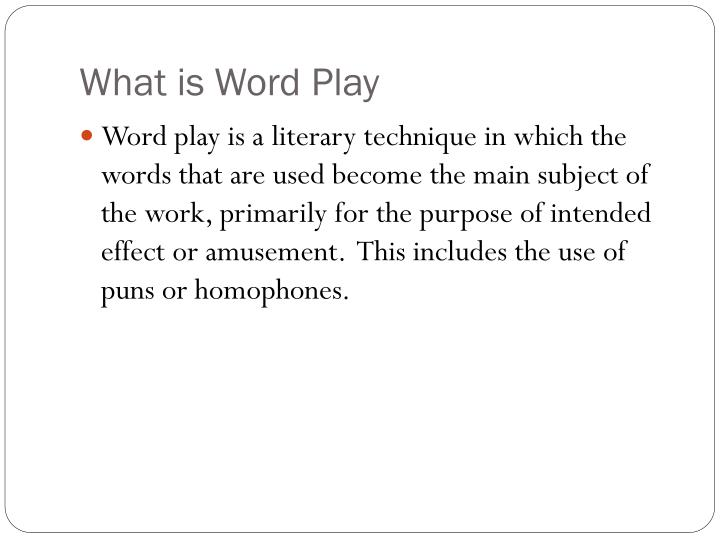 What is Word Play