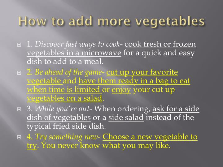 How to add more vegetables