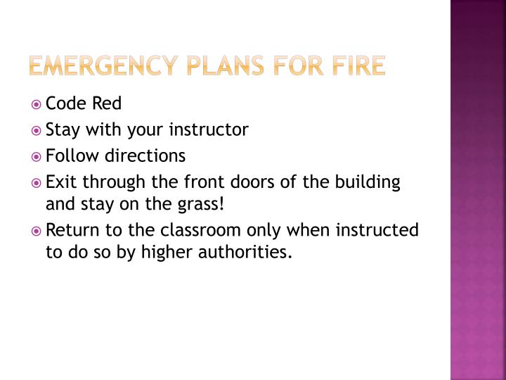 Emergency Plans for fire