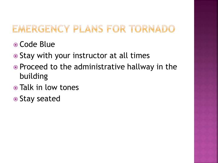 Emergency plans for tornado