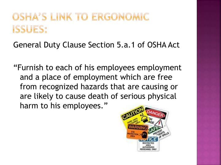 OSHA's link to ergonomic issues: