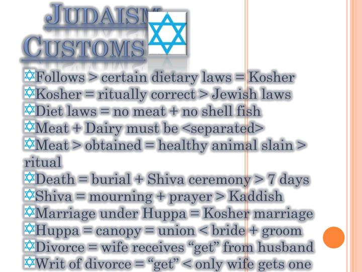 Follows > certain dietary laws = Kosher