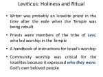 leviticus holiness and ritual