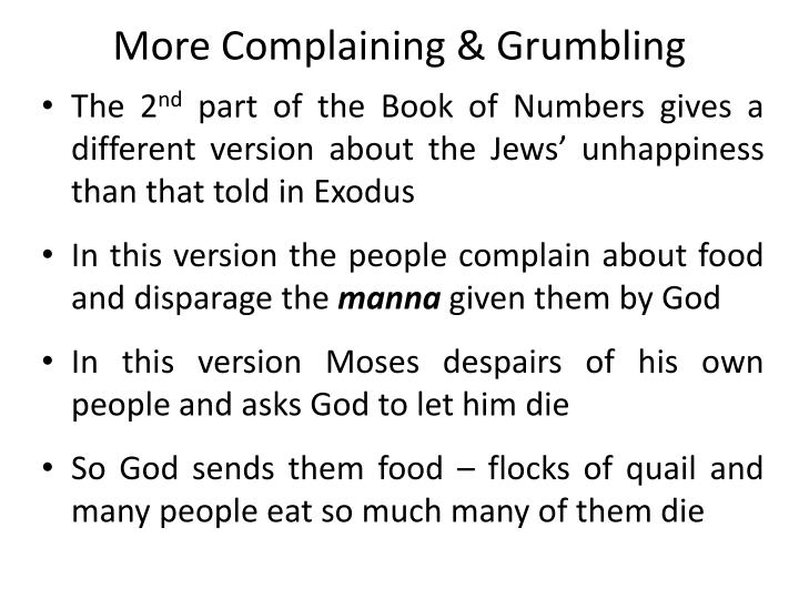 More Complaining & Grumbling