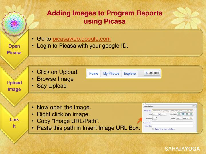Adding Images to Program Reports using Picasa