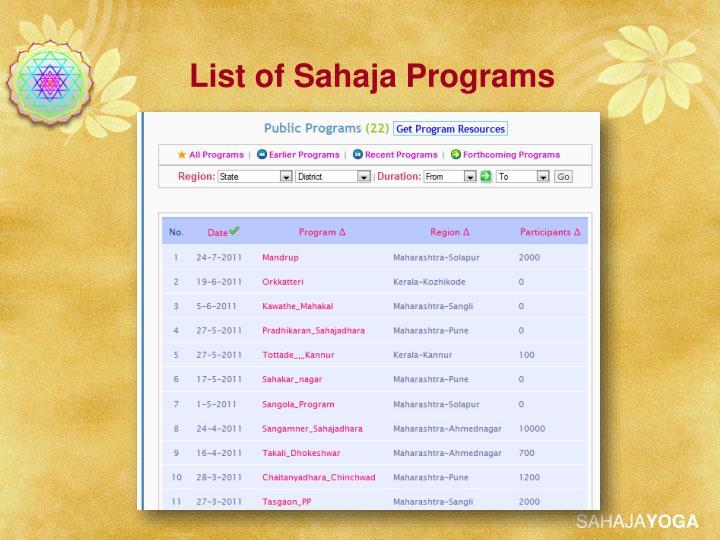List of Sahaja Programs