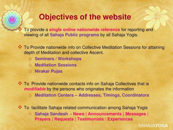 Objectives of the website