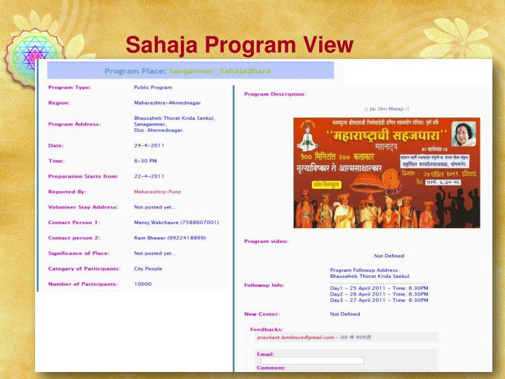 Sahaja Program View