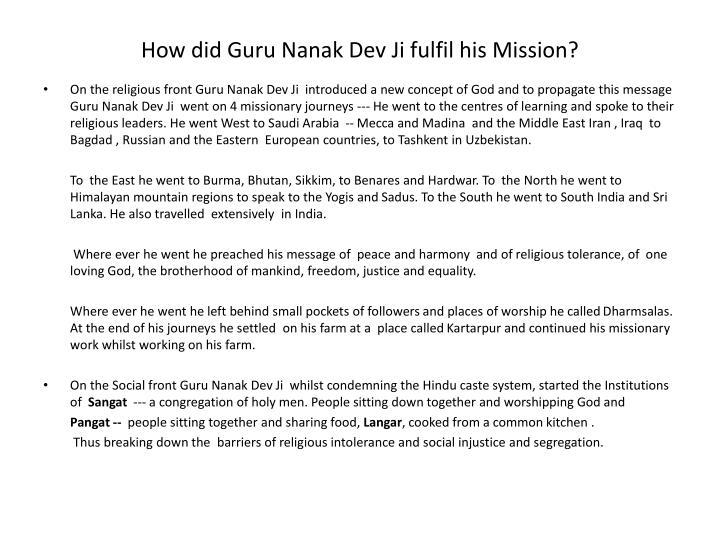 How did Guru Nanak Dev