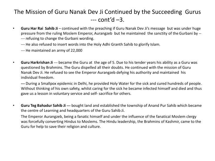 The Mission of Guru Nanak Dev
