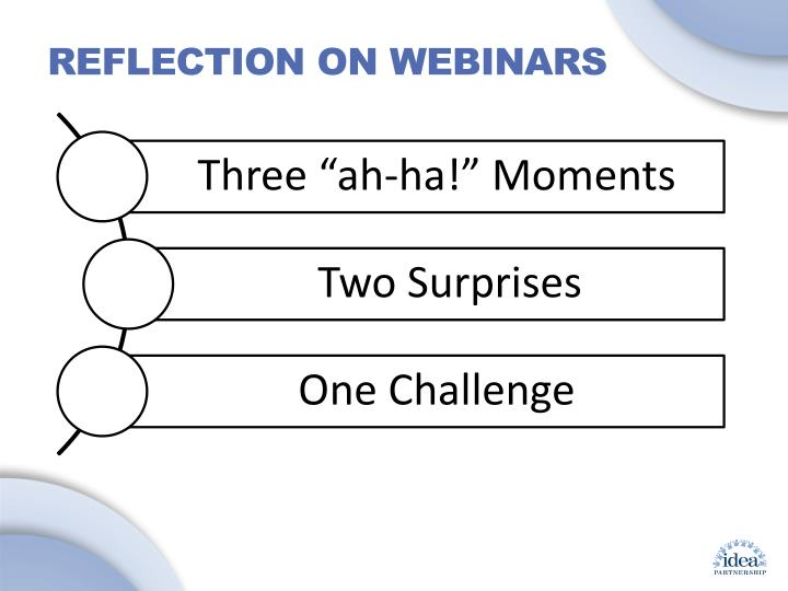 Reflection on Webinars