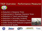 trip overview performance measures