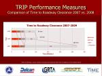 trip performance measures comparison of time to roadway clearance 2007 vs 2008