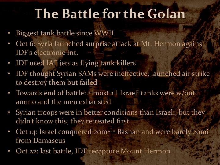 The Battle for the Golan