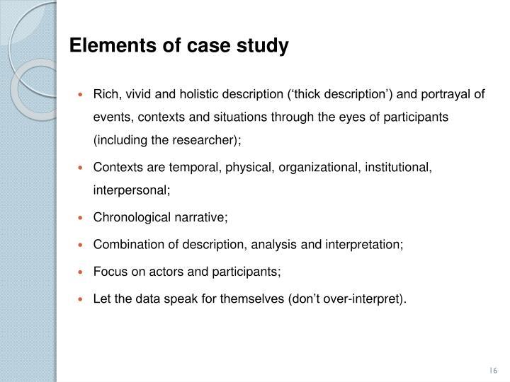 Elements of case study