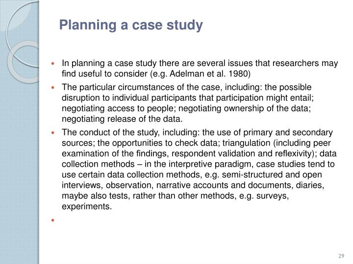 Planning a case study