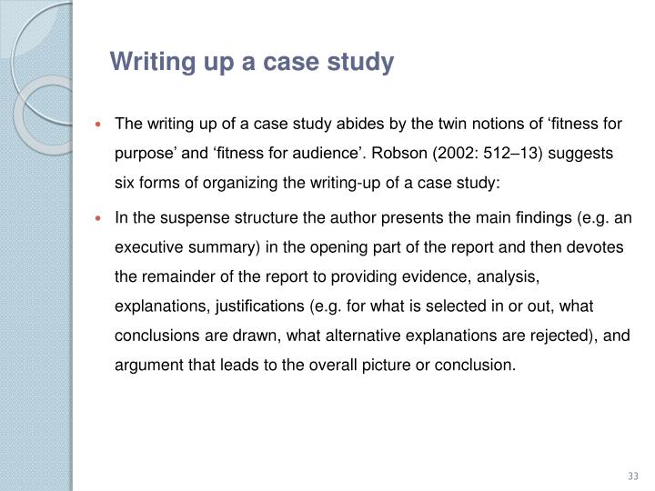 Writing up a case study