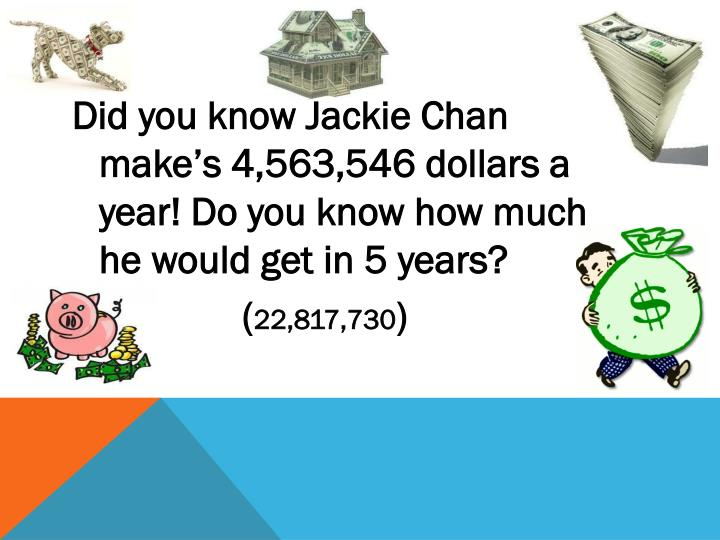 Did you know Jackie Chan make's 4,563,546 dollars a year! Do you know how much he would get in 5 years?