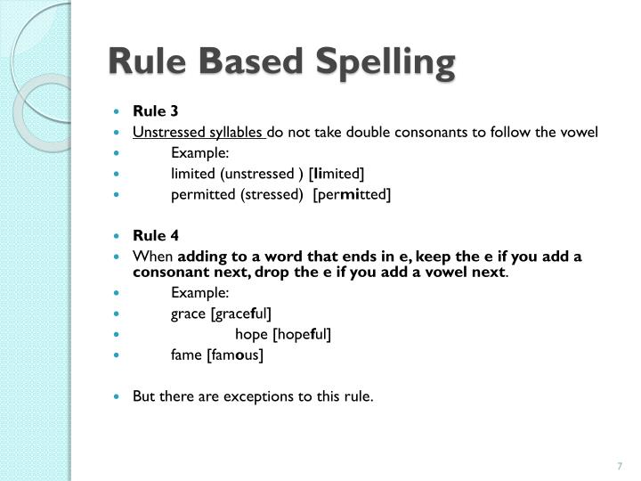 Rule Based Spelling