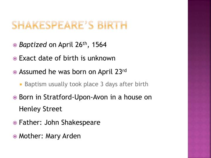 Shakespeare s birth