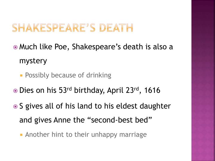 Shakespeare's death