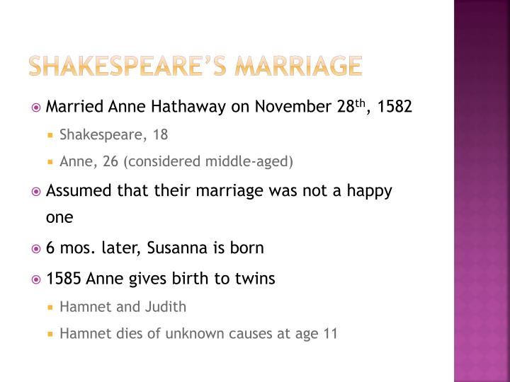 Shakespeare's marriage