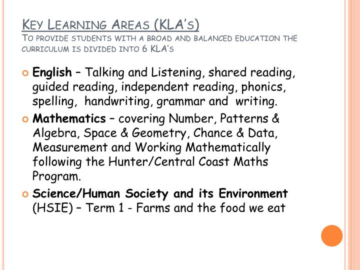 Key Learning Areas (KLA's)