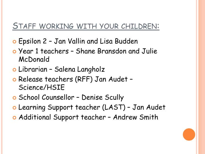 Staff working with your children: