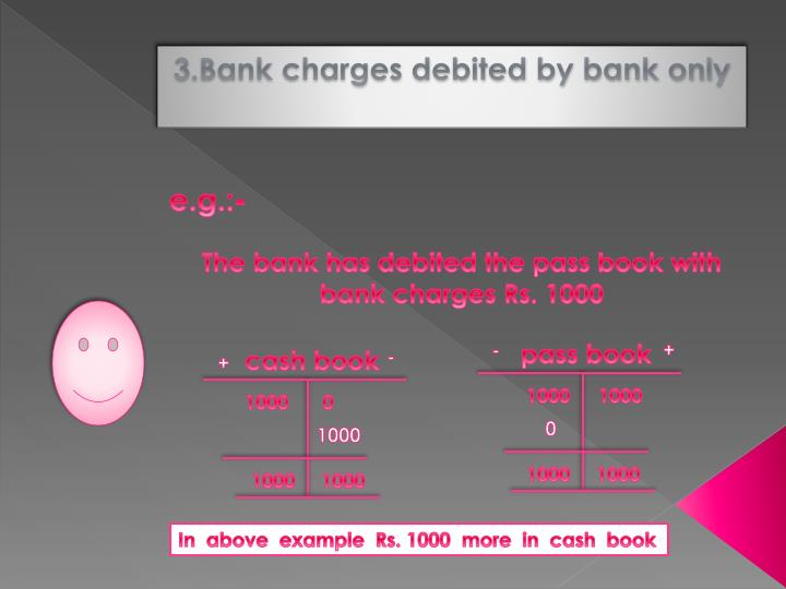 3.Bank charges debited by bank only