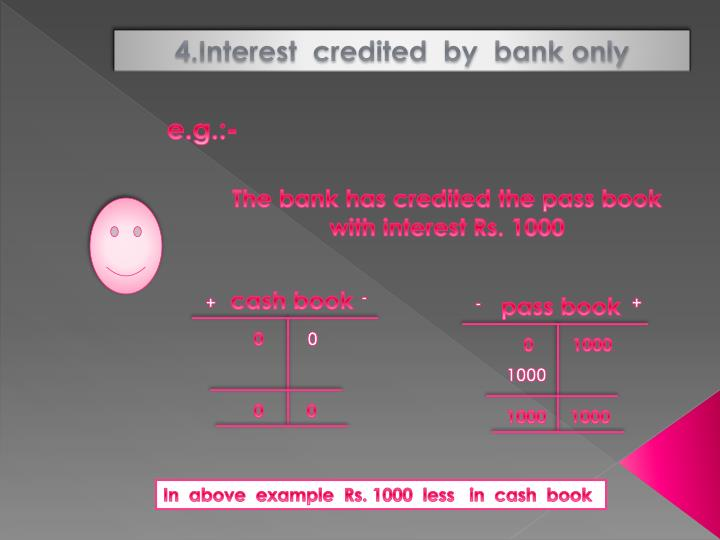 4.Interest  credited  by  bank only
