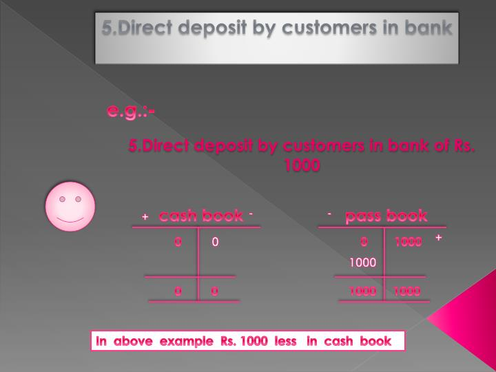 5.Direct deposit by customers in bank