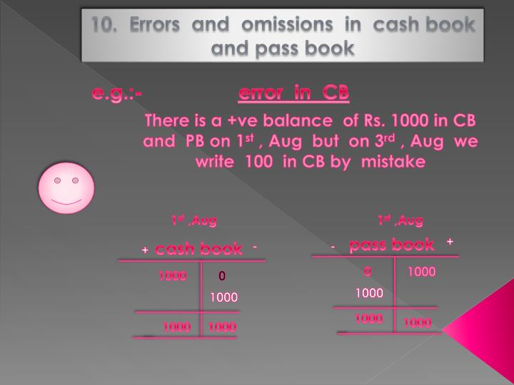 10.  Errors  and  omissions  in  cash book  and pass book