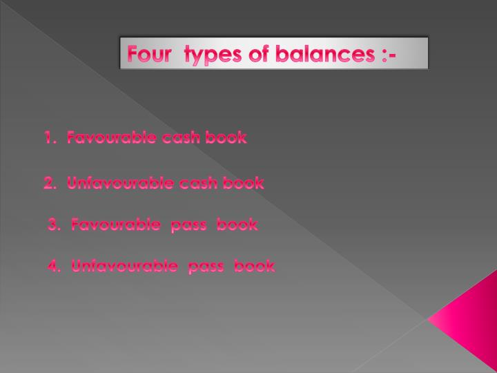 Four  types of balances :-