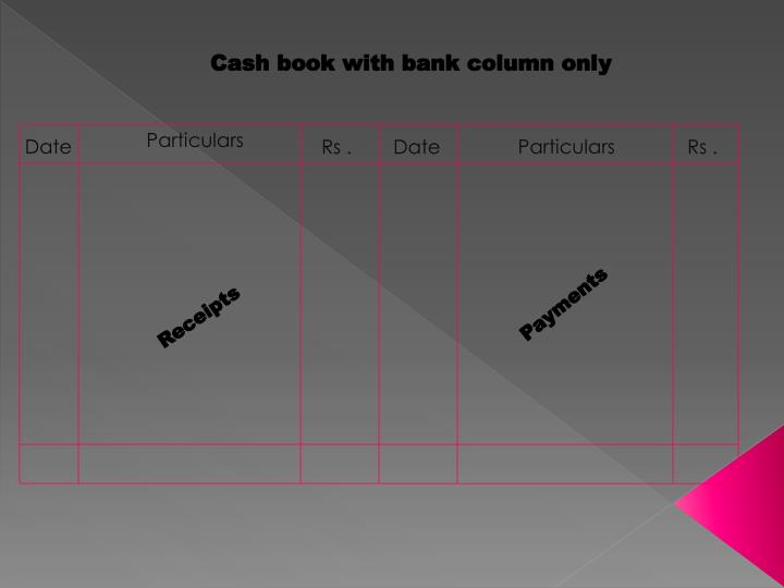 Cash book with bank column only
