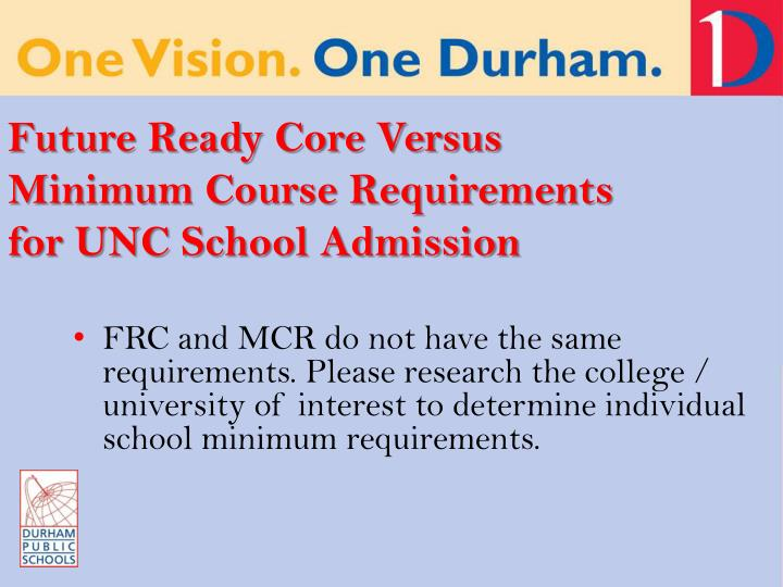 Future Ready Core Versus Minimum Course Requirements for UNC School Admission