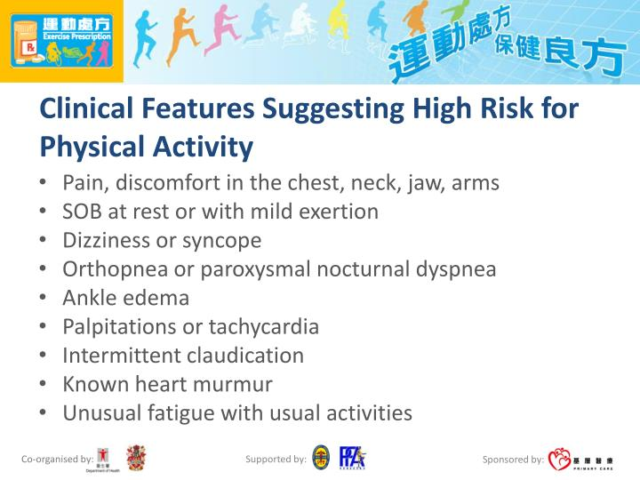 Clinical Features Suggesting High Risk for Physical Activity