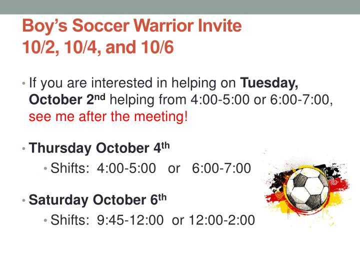 Boy's Soccer Warrior Invite