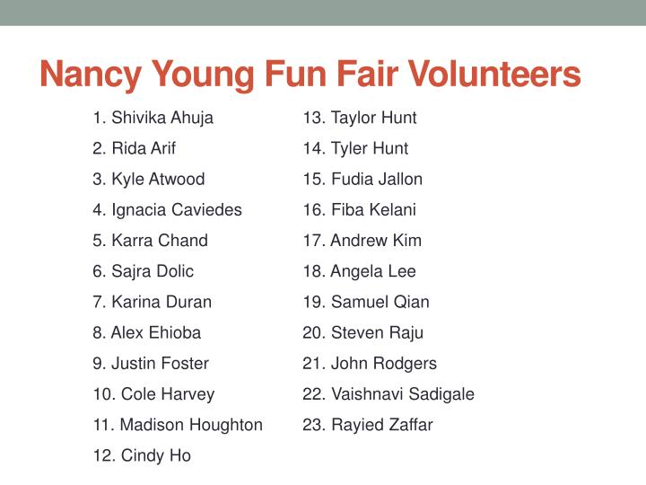 Nancy Young Fun Fair Volunteers