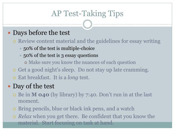 Taking essay test tips